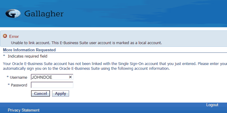 Oracle EBS SSO Troubleshooting - Unable to Link Account